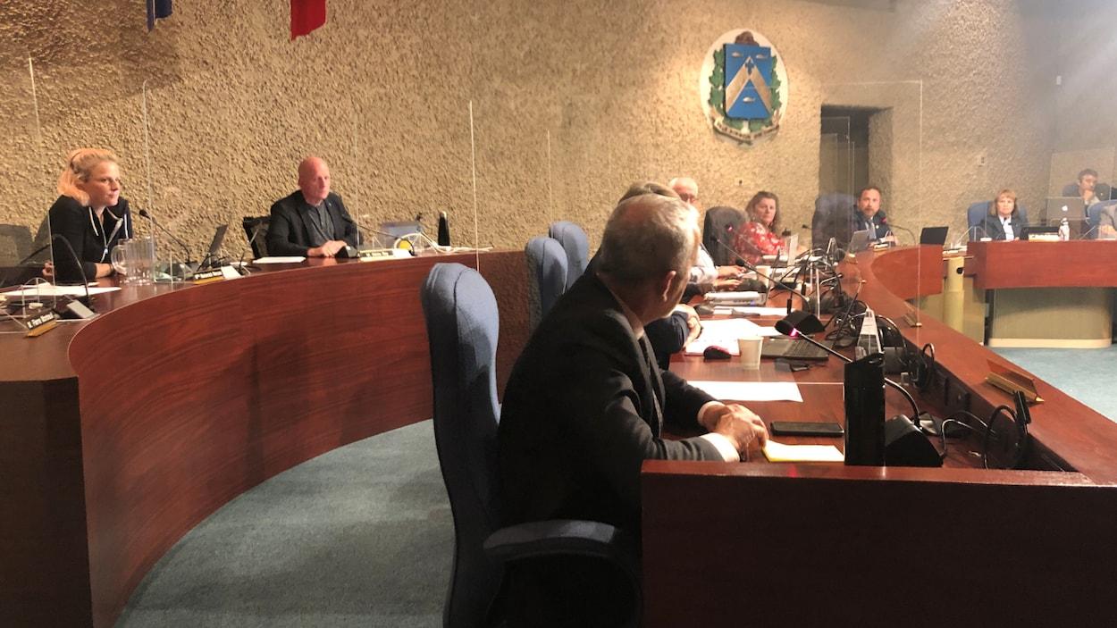 La salle du conseil municipal où tous les élus sont assis.