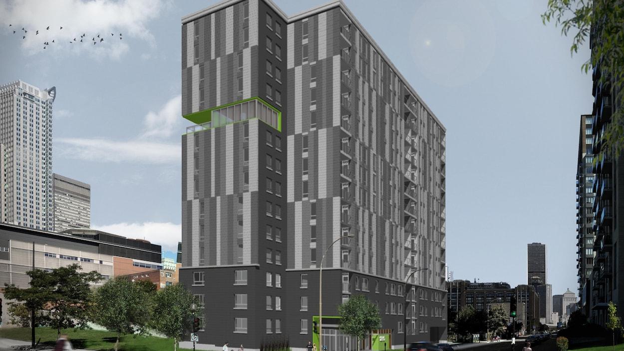 La coopérative de la Montagne verte sera construite à l'intersection des rues de la Montagne et Saint-Antoine à Montréal. L'édifice aura 14 étages.