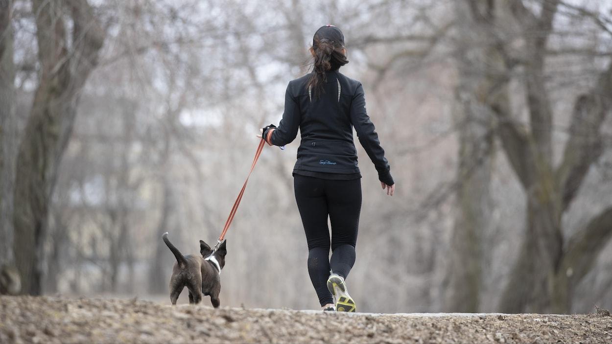 Une femme court en promenant son chien dans un parc.
