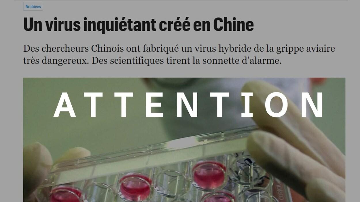 """Capture d'écran d'un article publié en 2013 sur un virus créé en laboratoire alimente à tort les soupçons sur l'origine du nouveau coronavirus. Le terme """"attention"""" y a été superposé."""