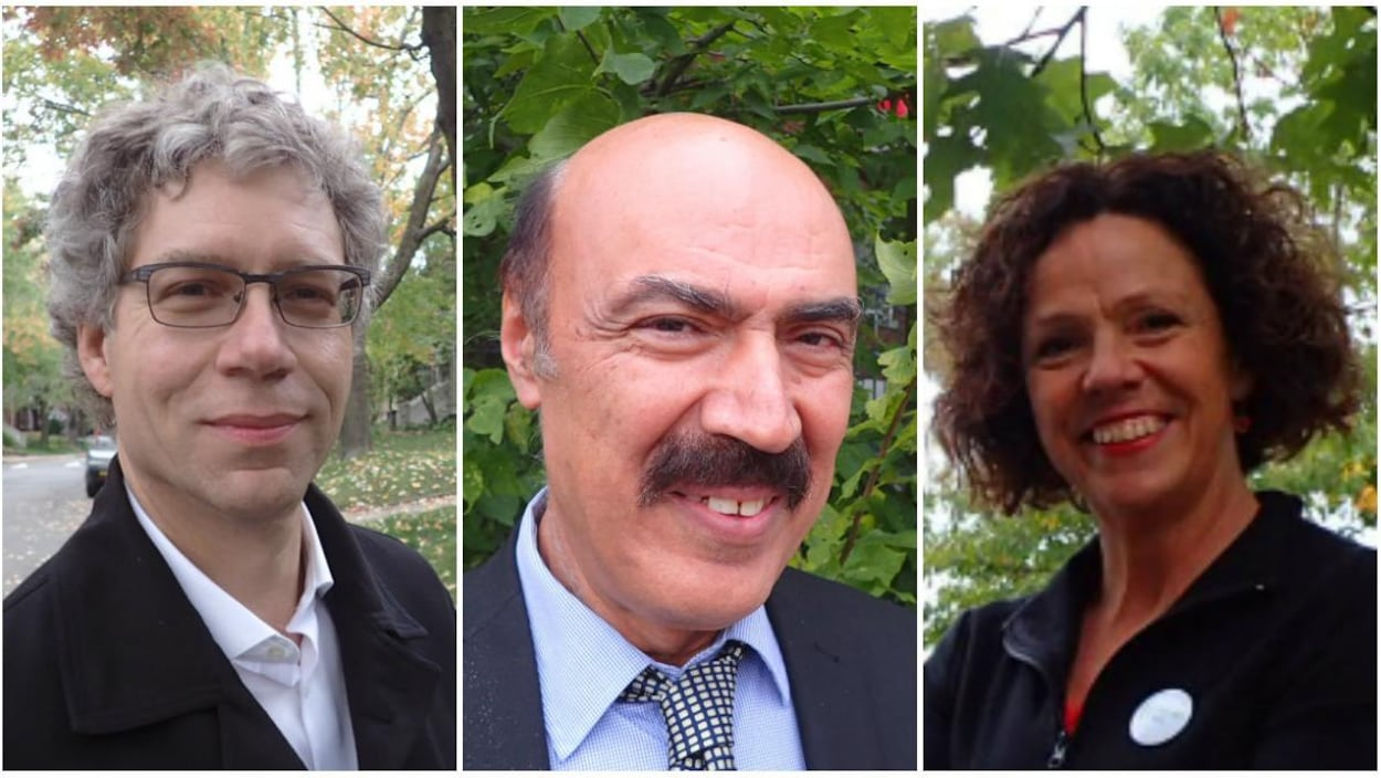 Les candidats à la mairie dans l'arrondissement Côte-des-Neiges–Notre-Dame-de-Grâce. De gauche à droite: Russell Copeman d'Équipe Denis Coderre, Zaki Ghavitian de Coalition Montréal et Sue Montgomery de Projet Montréal.