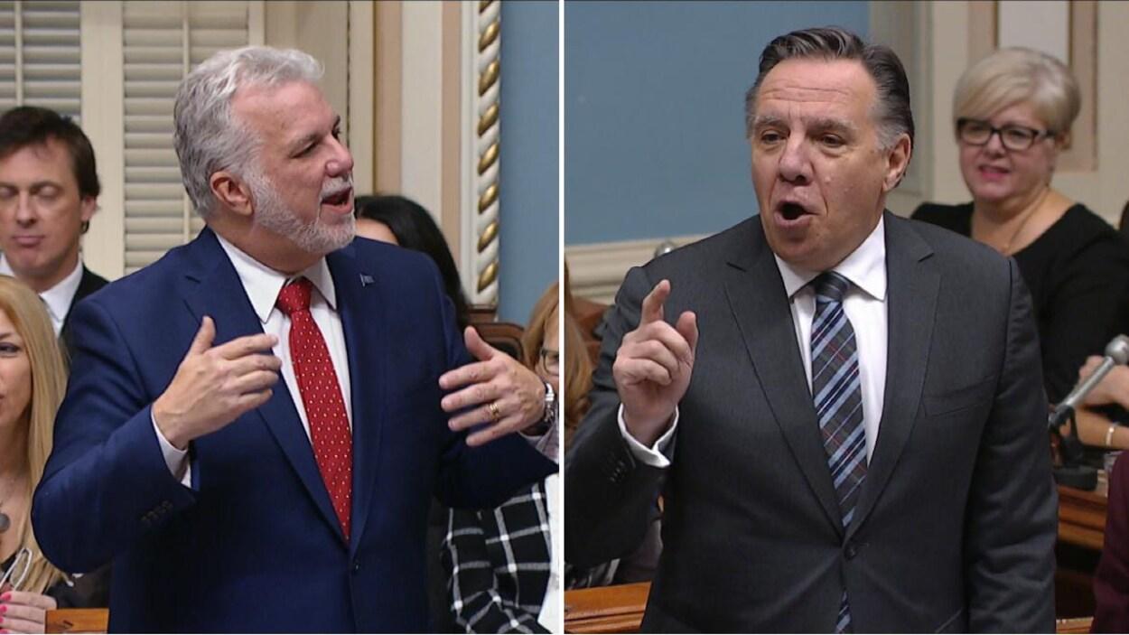 Le premier ministre du Québec, Philippe Couillard, et le chef de la deuxième opposition, François Legault, ont eu un échange musclé lors de la période de questions, le mercredi 22 novembre 2017.