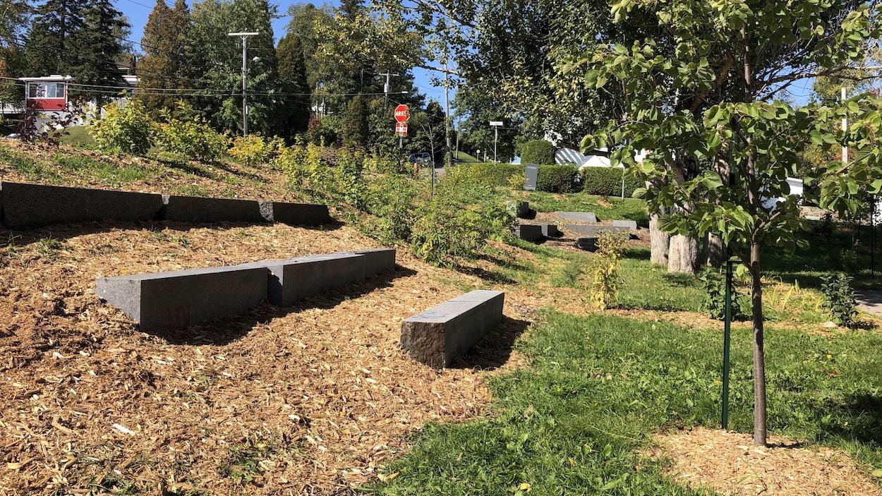 Des bancs de pierre se trouvent dans une cour d'école.