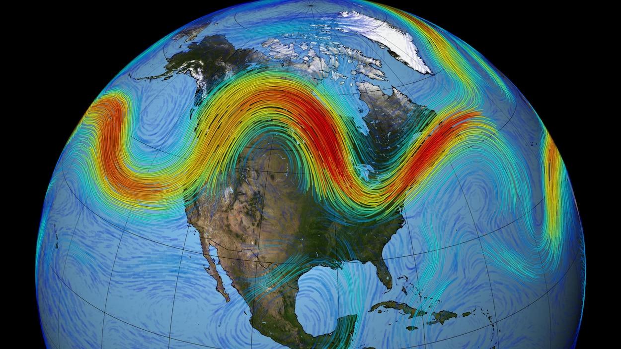 Le trajet du courant-jet au-dessus de l'Amérique du Nord.