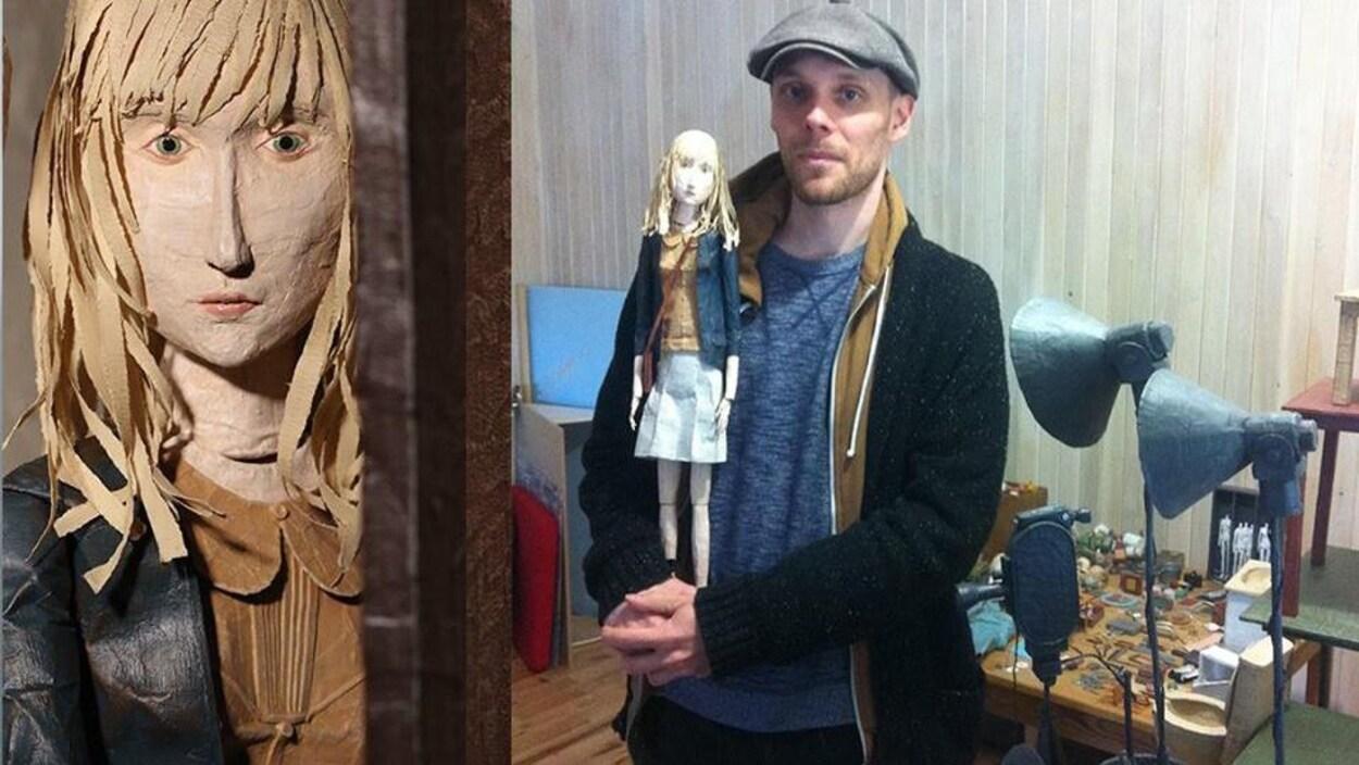 Le réalisateur Frédérick Tremblay tient une de ses poupées dans ses mains