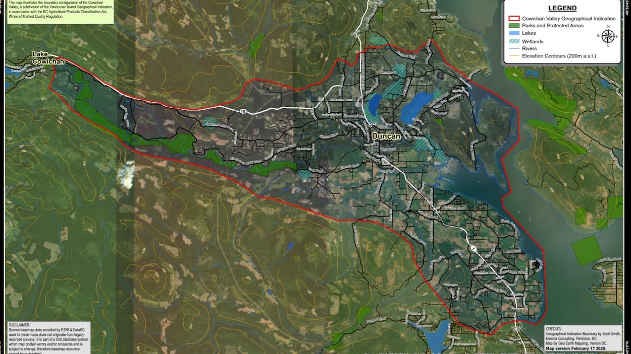 Une carte montre la Cowichan Valley.