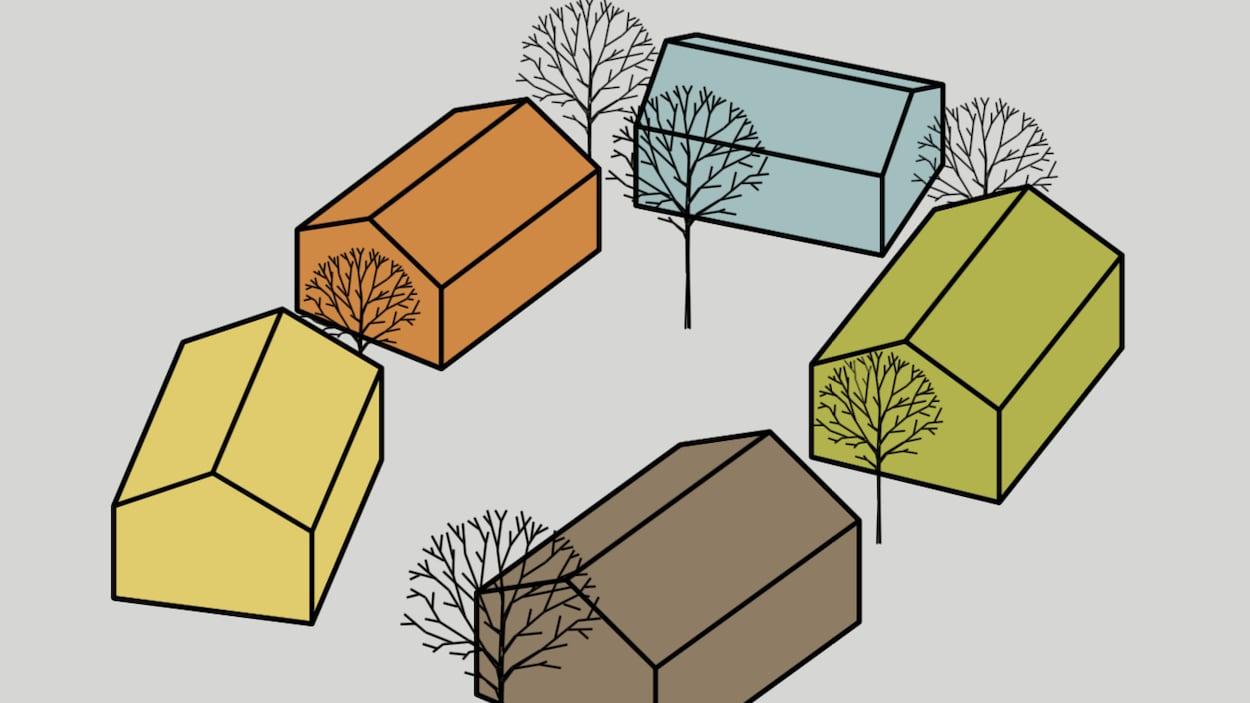 Des maisons sont dessinées entourées d'arbre.
