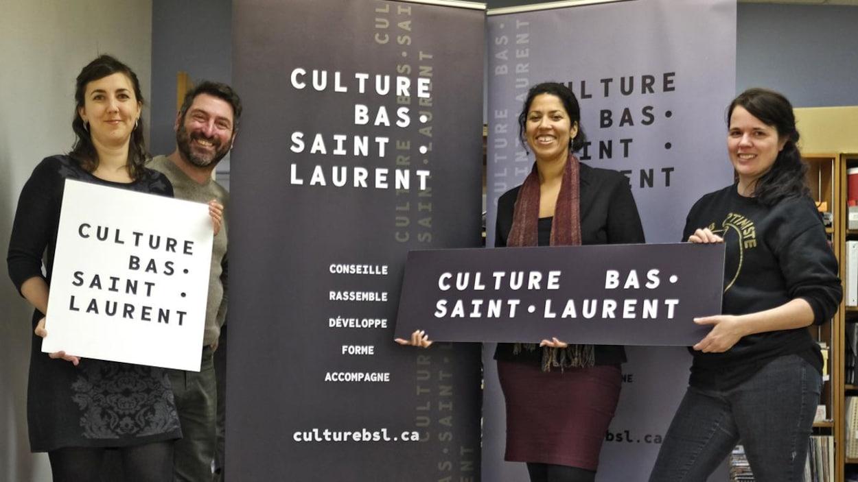 L'équipe de Culture Bas-Saint-Laurent présente sa nouvelle identité visuelle. De gauche à droite: Dominique Lapointe, Baptiste Grison, Nadia Gagné et Julie Gauthier.