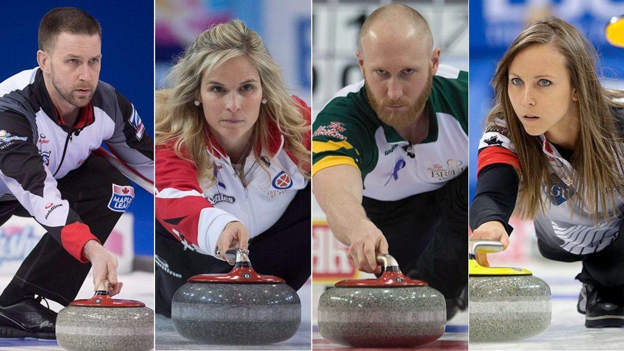 Montage photo montrant côte à côte quatre joueurs de curling.