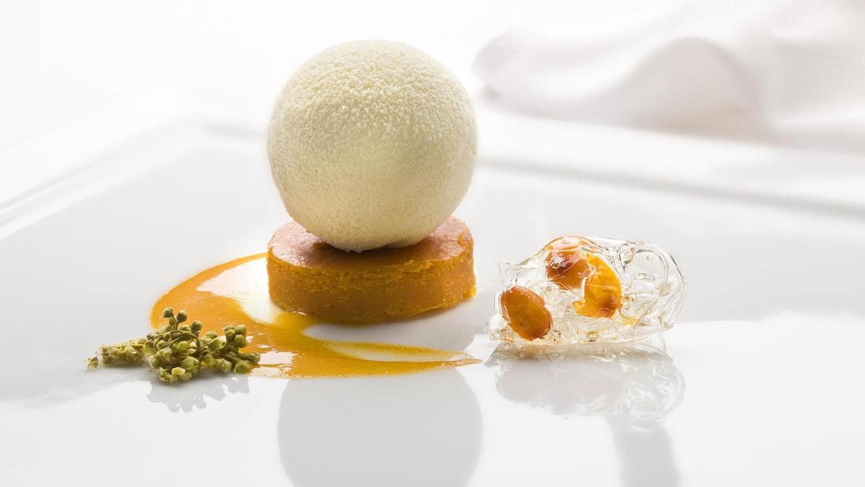 Un repas gastronomique dans une assiette blanche.