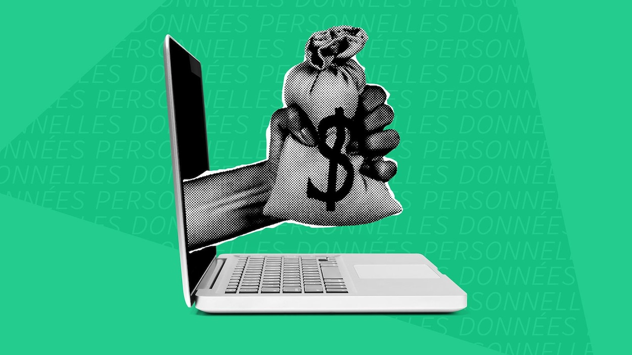 Une main tenant un sac d'argent sort d'un écran d'ordinateur.