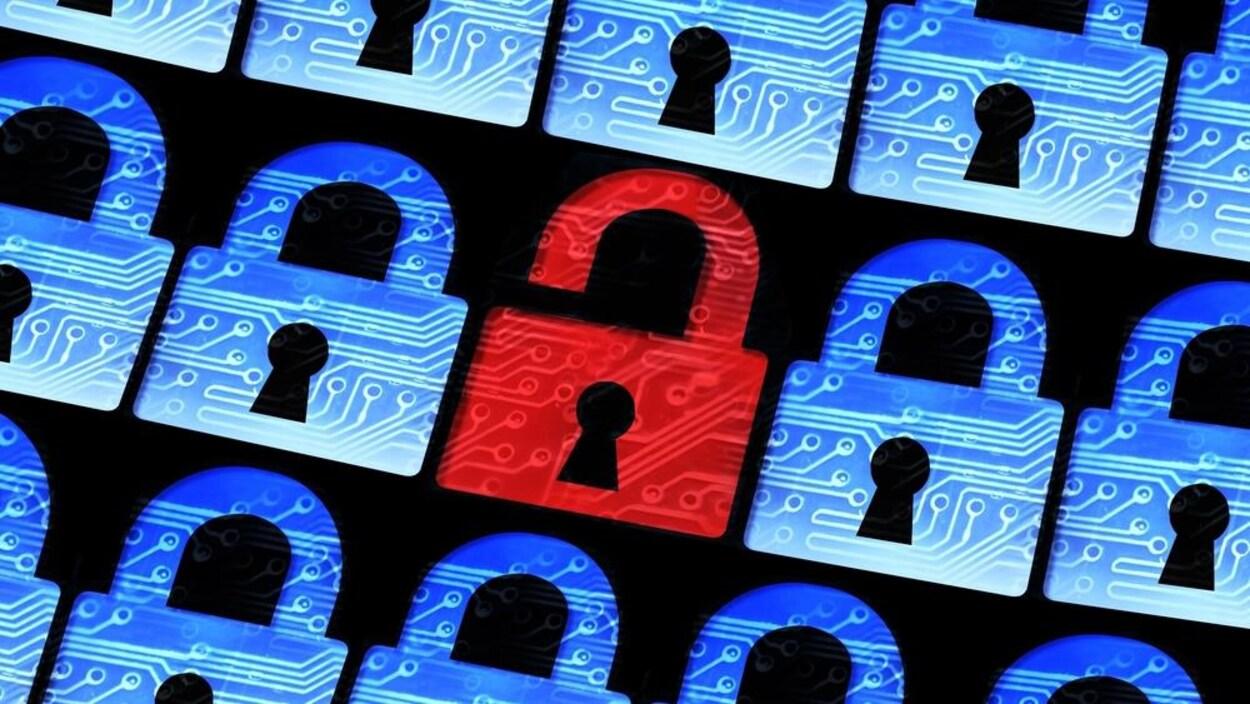 Un cadenas rouge ouvert dans une rangée pour symboliser un problème de sécurité informatique.