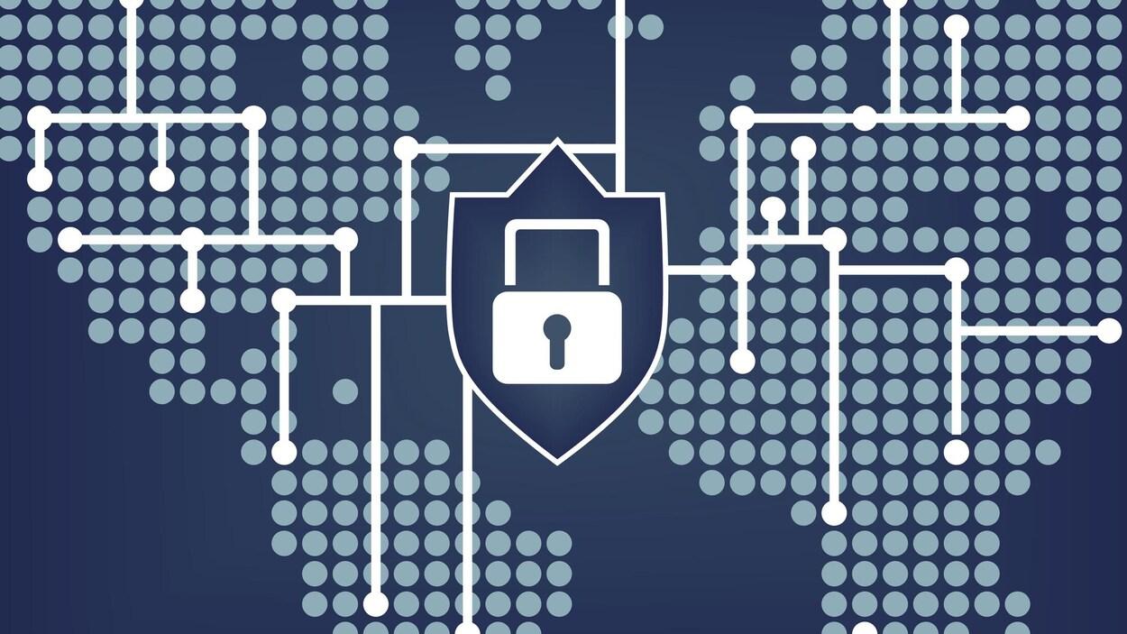 Illustration de la planète connectée par un réseau Internet sécurisé.