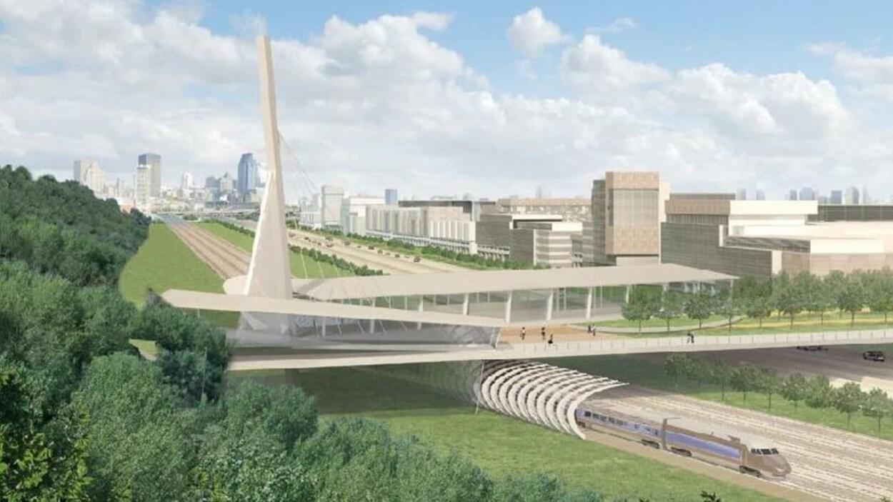 La dalle-jardin du projet de nouvel échangeur Turcot, telle que présentée en 2010 sur une image de synthèse où l'on voit la structure, le centre-ville à l'arrière et un train passer sous la dalle.