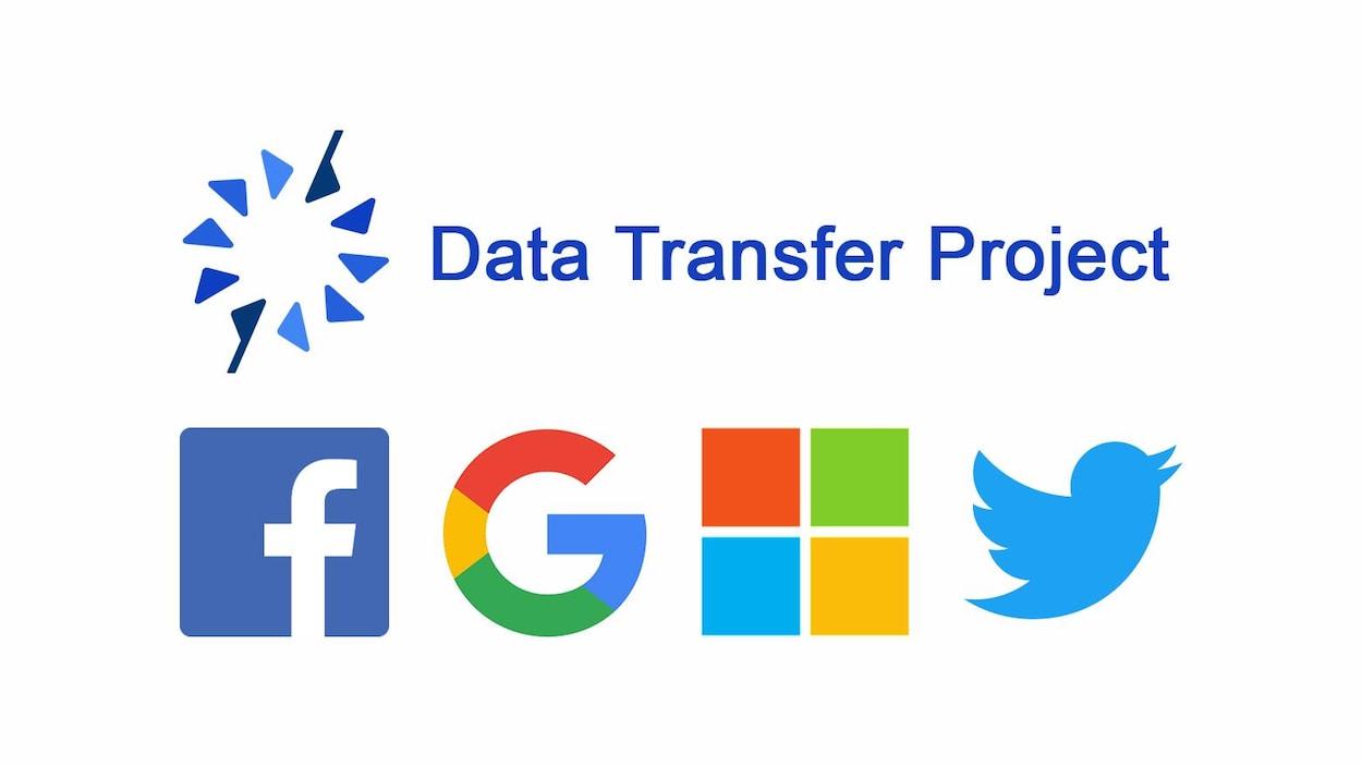Le logo du Data Transfer Project et ceux de Facebook, Google, Microsoft et Twitter.