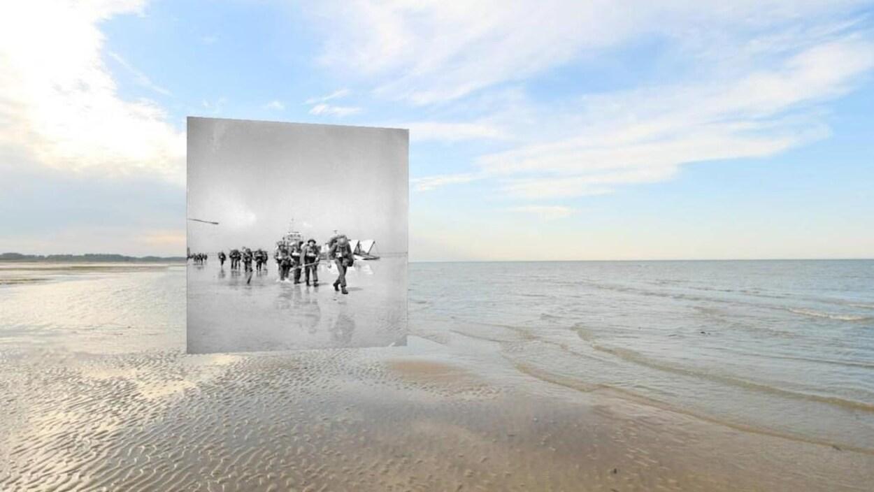 La plage du débarquement en normandie avec une photo de réalité virtuelle de soldat de l'époque