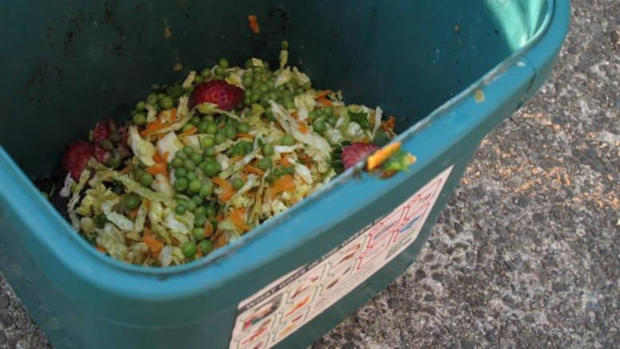 une poubelle de compostage de déchets organiques avec des petits pois et autres légumes et fruits dedans