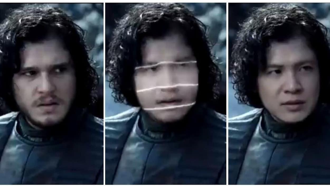 Une transformation de visage du personnage Jon Snow, de la série Game of Thrones