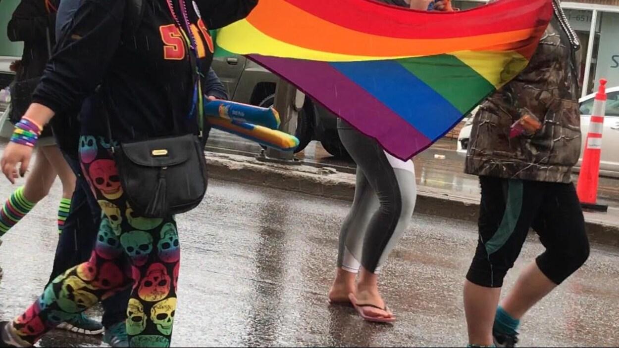 Des participants marchent avec le drapeau de la fierté.
