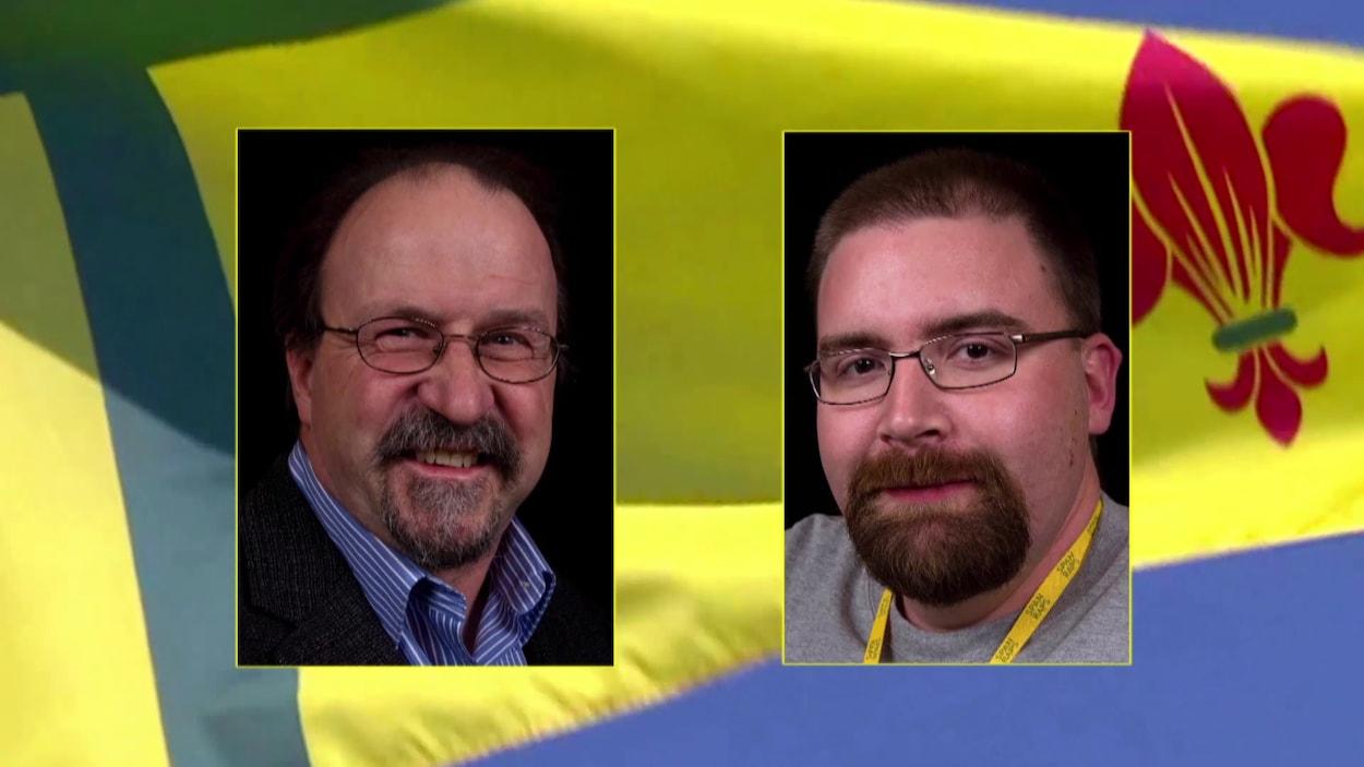 Portraits de Denis Simard et Roger Gauthier sur fond de drapeau fransaskois