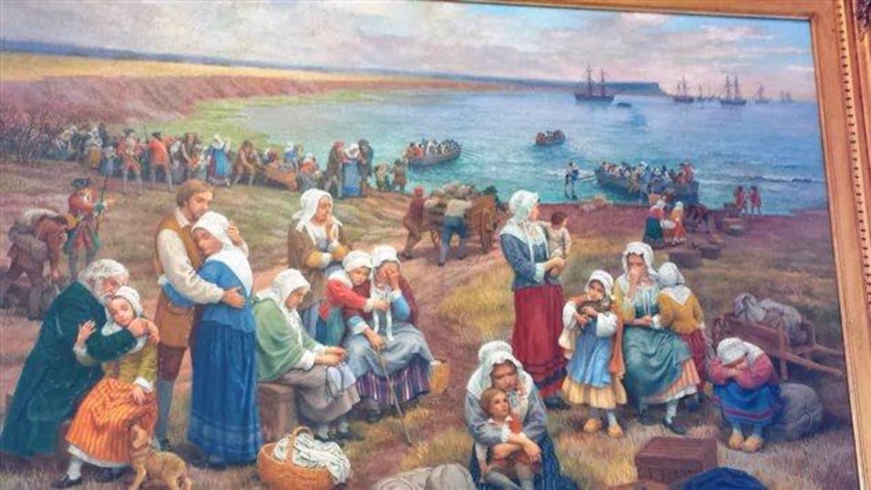 L'oeuvre du peintre Claude Picard, montrant des Acadiens attendant les bateaux.