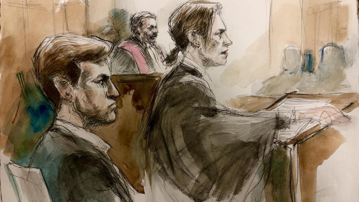 Dessin de la scène du tribunal, un homme est assis avec une femme debout près et de lui et un autre homme assis en habit de juge en arrière plan.
