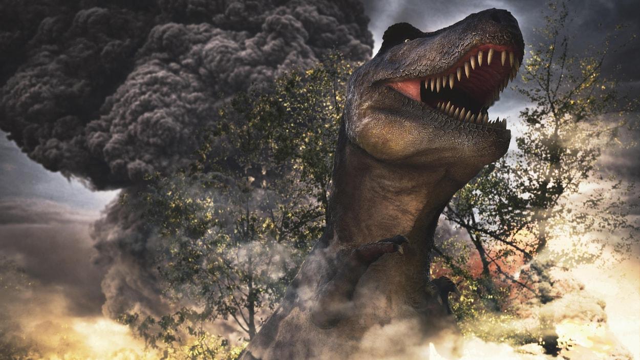 Illustration montrant un dinosaure à la suite de la chute d'un astéroïde.