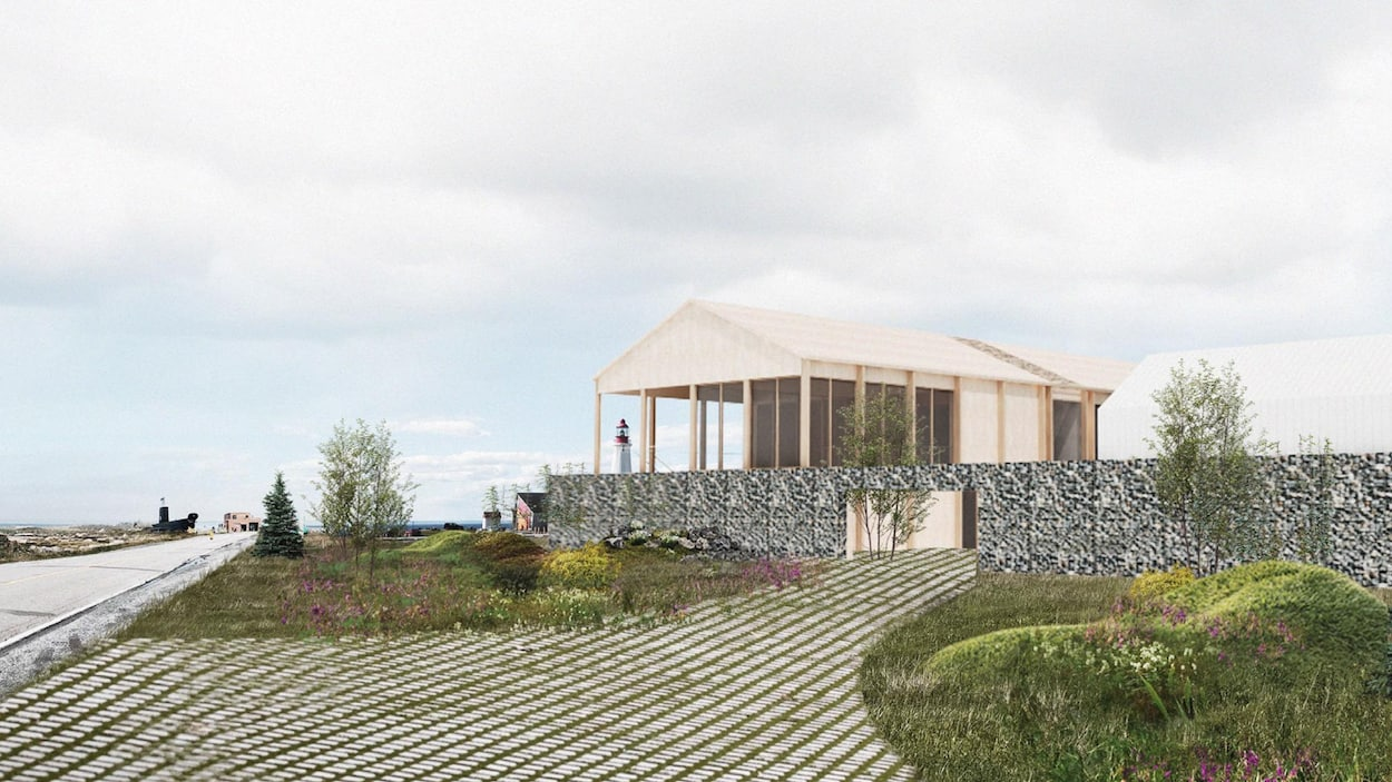 Esquisse d'un bâtiment en bois avec des éléments de verdure tout près.