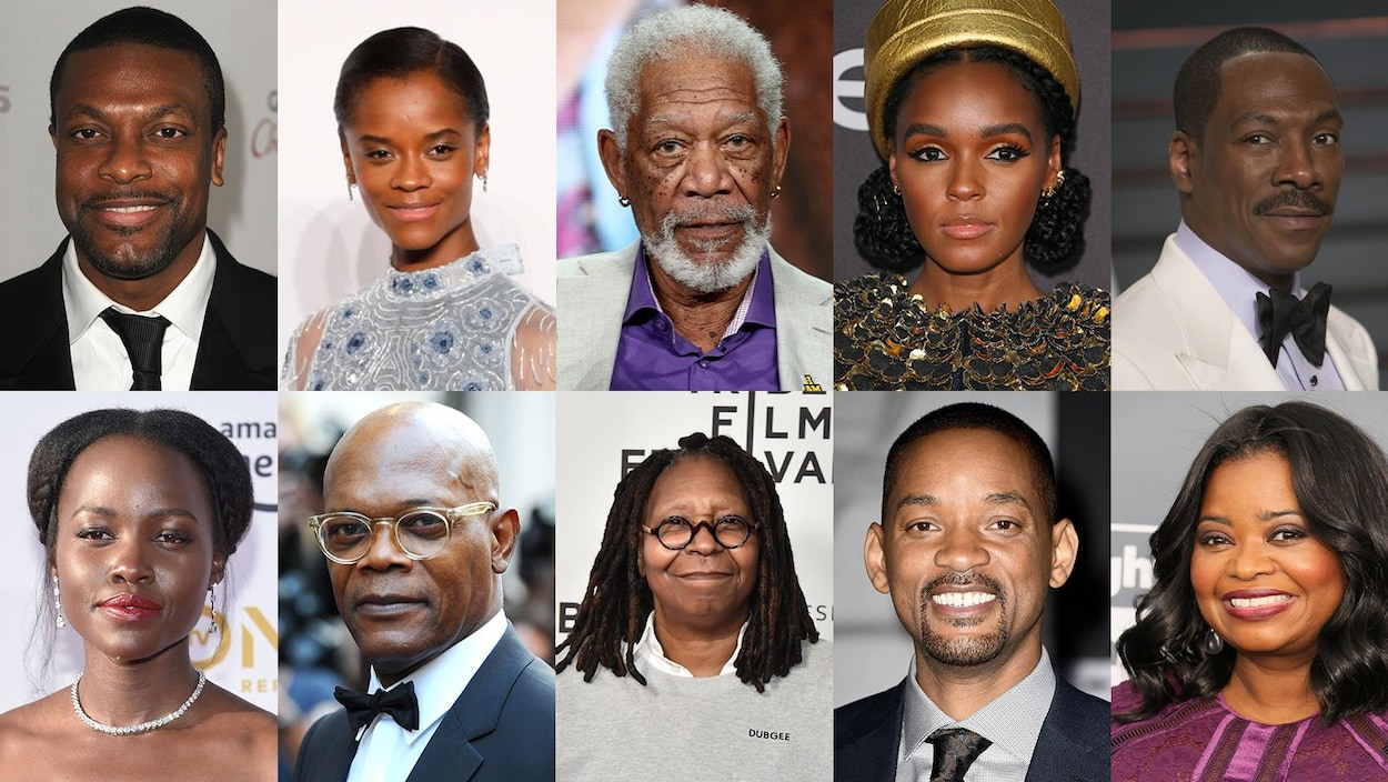 Une montage photo avec les comédiens Chris Tucker, Letitia Wright, Morgan Freeman, Janelle Monae, Eddie Murphy, Lupita Nyong'o, Samuel L. Jackson, Whoopi Goldberg, Will Smith et Octavia Spencer.