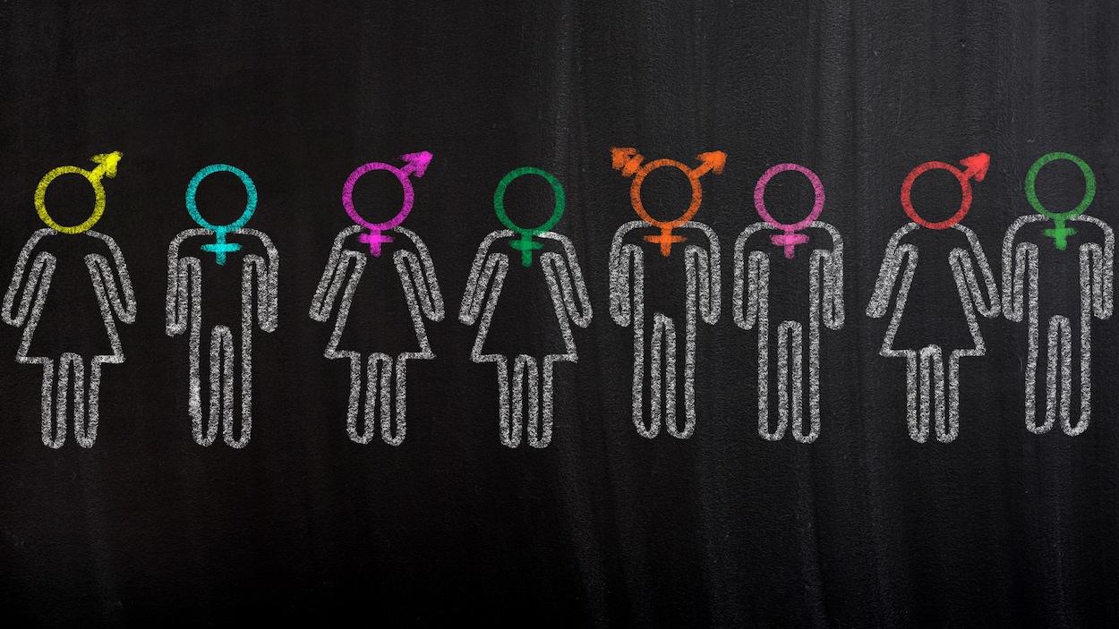 Dessin d'hommes et de femmes de divers types.