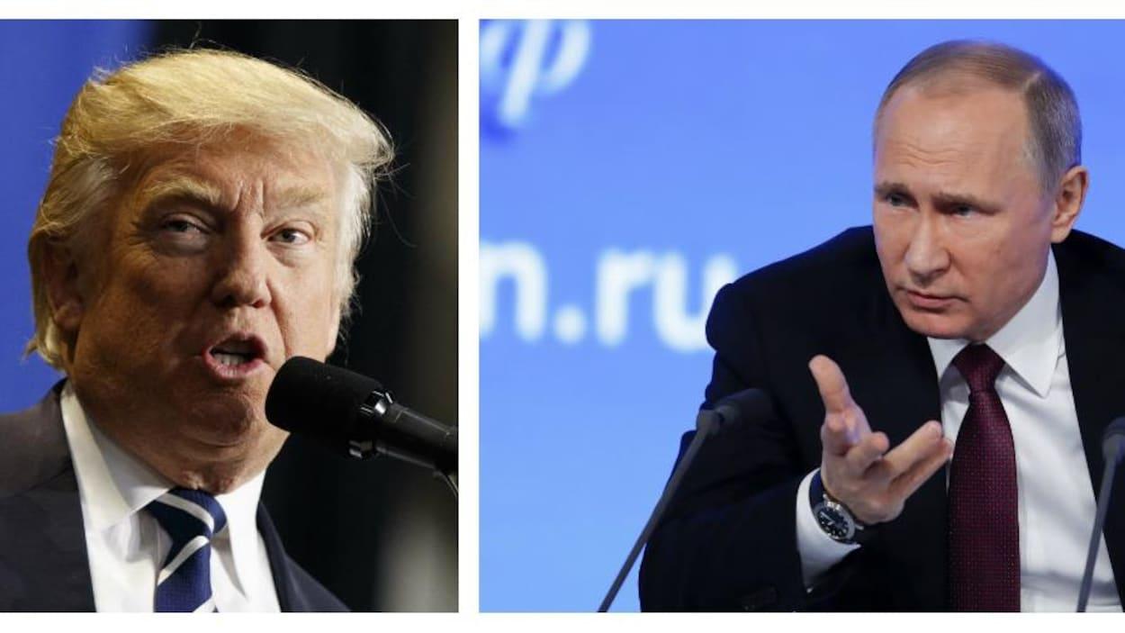 Montage de photos comprenant le président désigné des États-Unis, Donald Trump au Wisconsin le 13 décembre 2016 et le président russe Vladimir Poutine à Moscou le 23 décembre 2016
