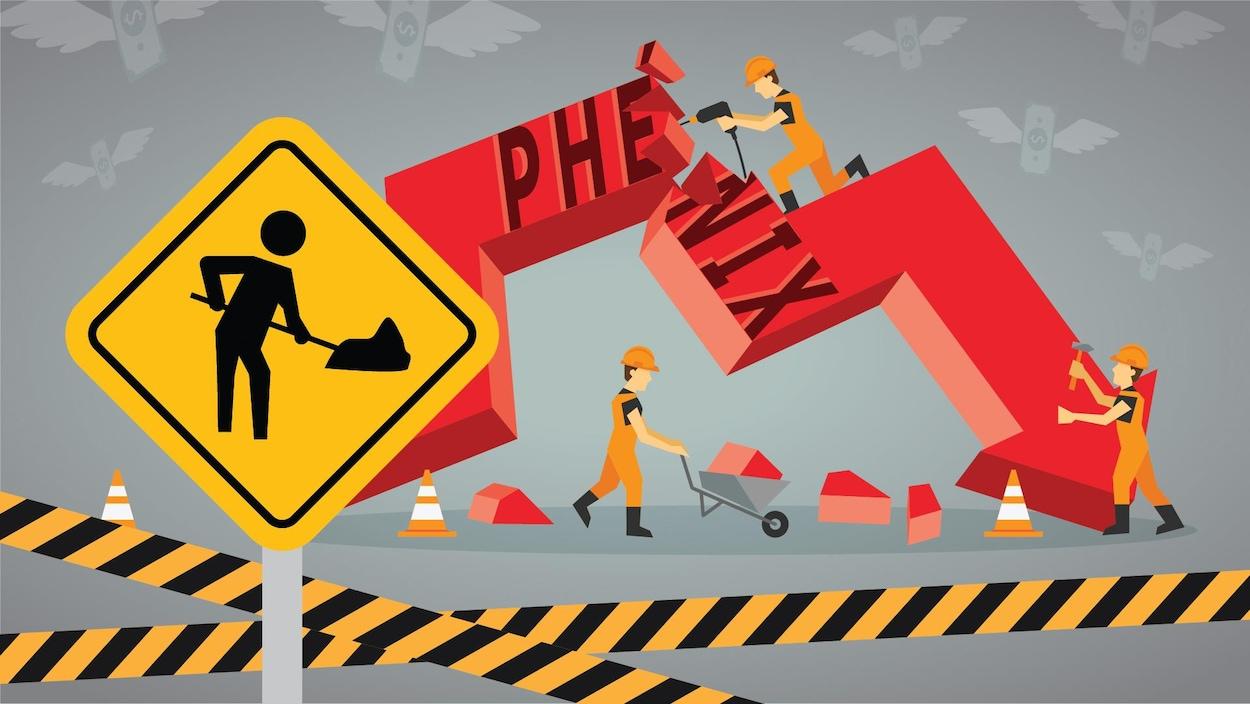 Illustration montrant des travailleurs de la construction en train de réparer une flèche cassée sur laquelle est écrit Phénix.