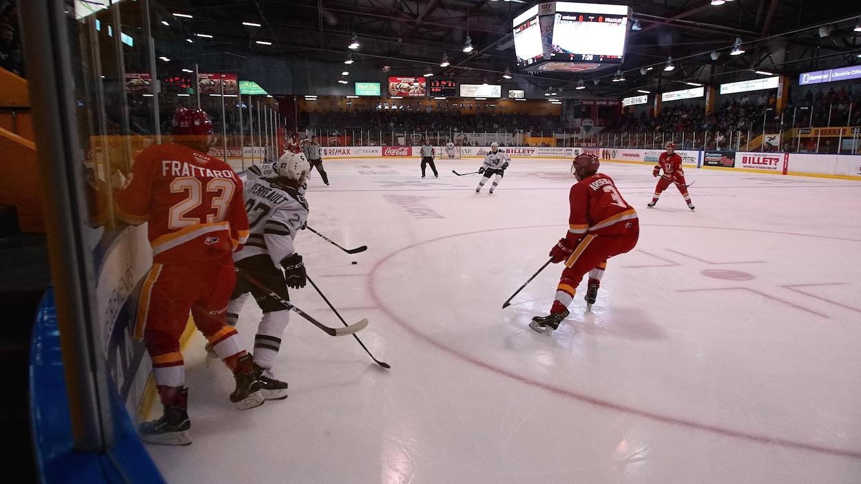 Des joueurs du Drakkar de Baie-Comeau et de l'Océanic de Rimouski sur une patinoire.