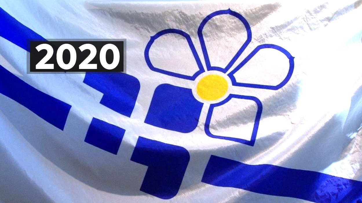 Le drapeau franco-colombien avec le chiffre 2020.