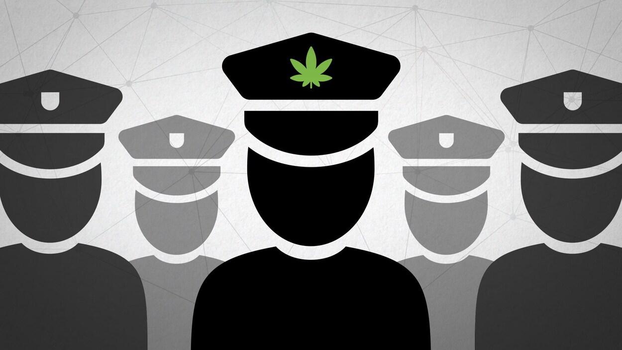 Un dessin représentant des agents de police dont un a une plante de cannabis sur sa casquette.