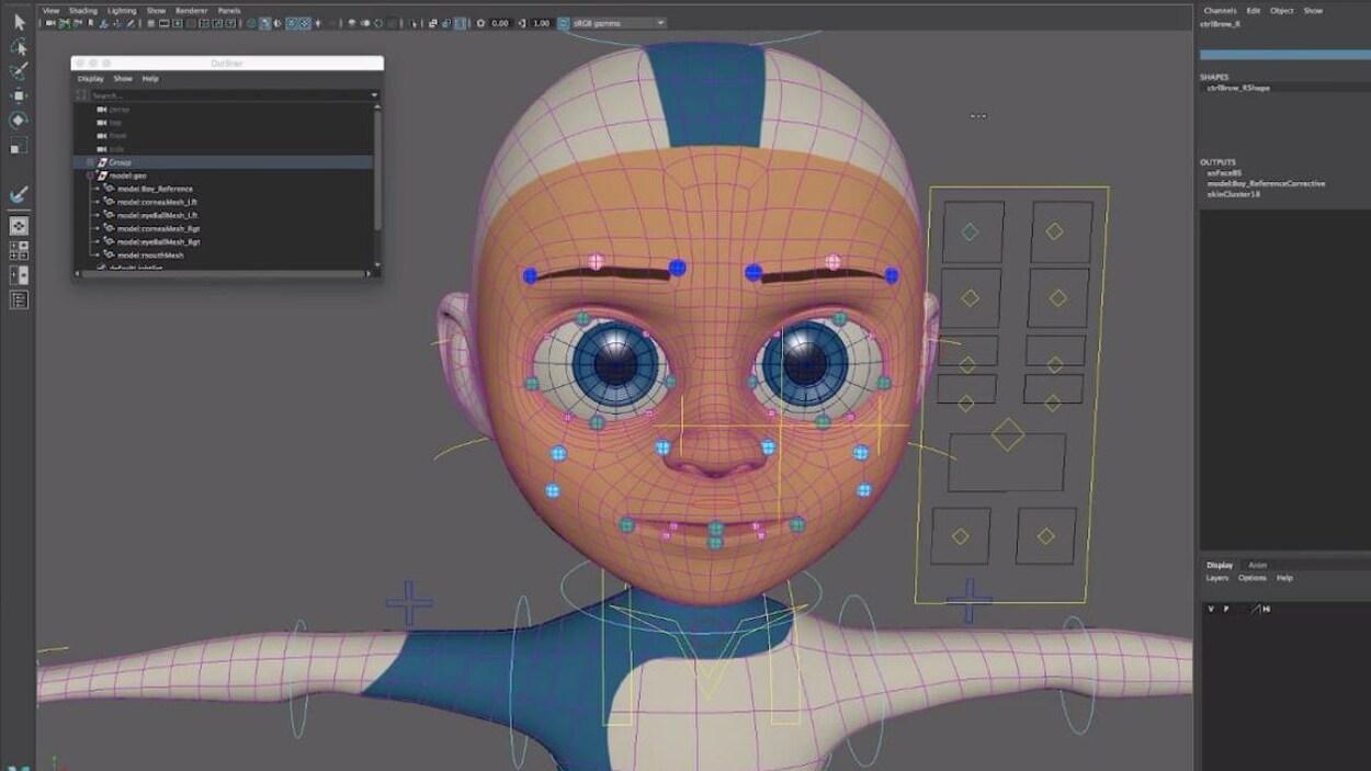 Un personnage dessiné et présenté dans un logiciel d'animation.
