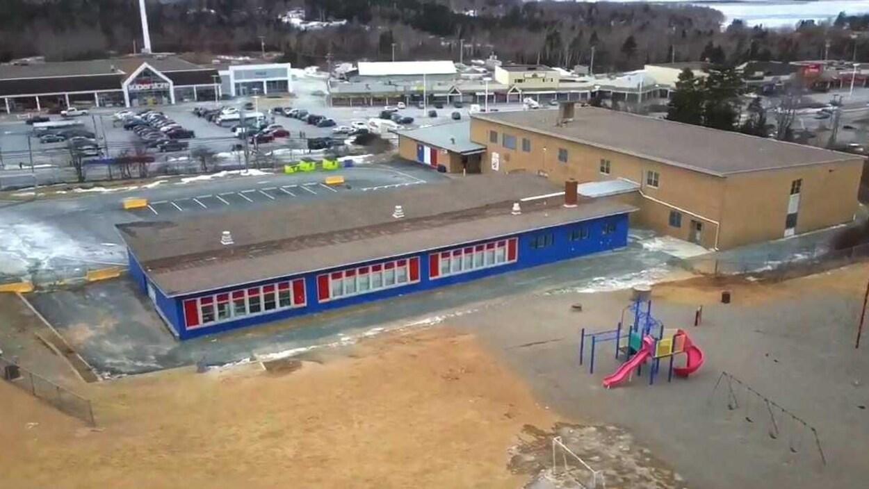 Vue aérienne de l'École des Beaux-Marais, à Chezzetcook en Nouvelle-Écosse.
