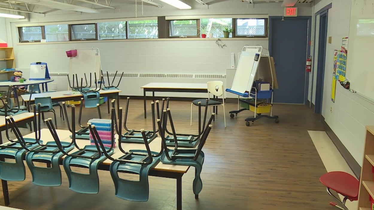 Une classe, avec les chaises sur les bureaux.