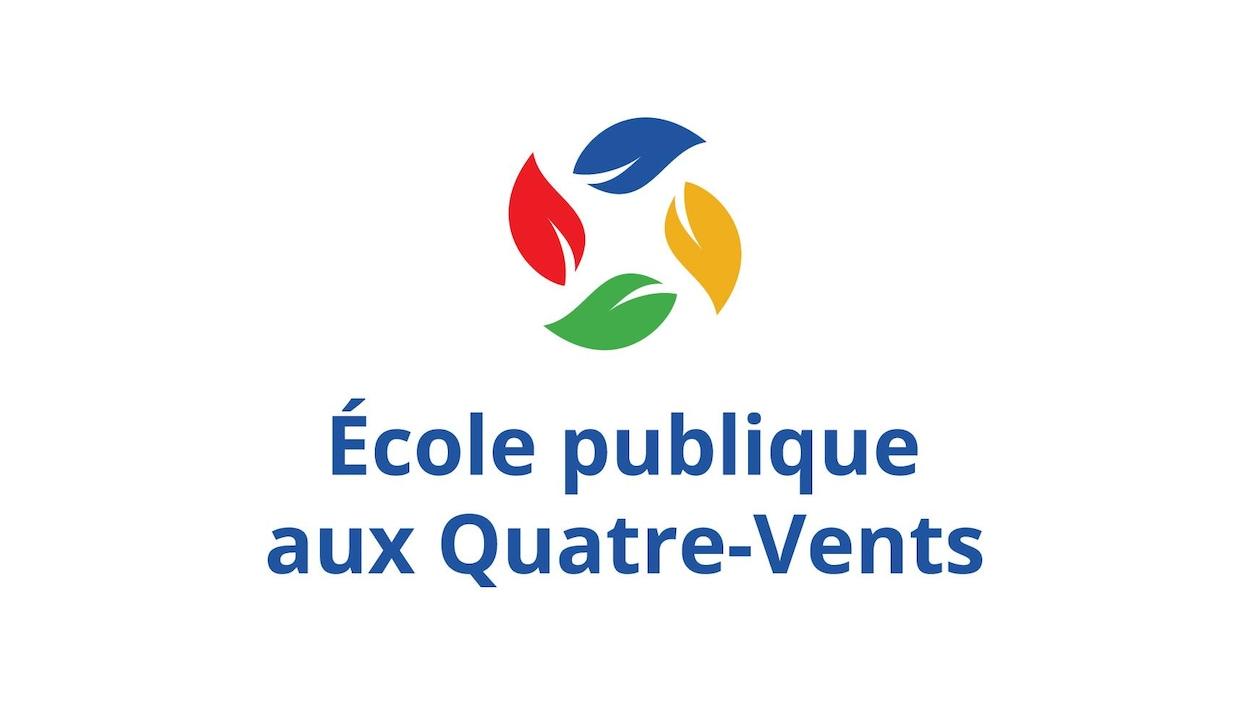 Logo d'une école avec quatre feuilles colorées qui semblent voler au vent