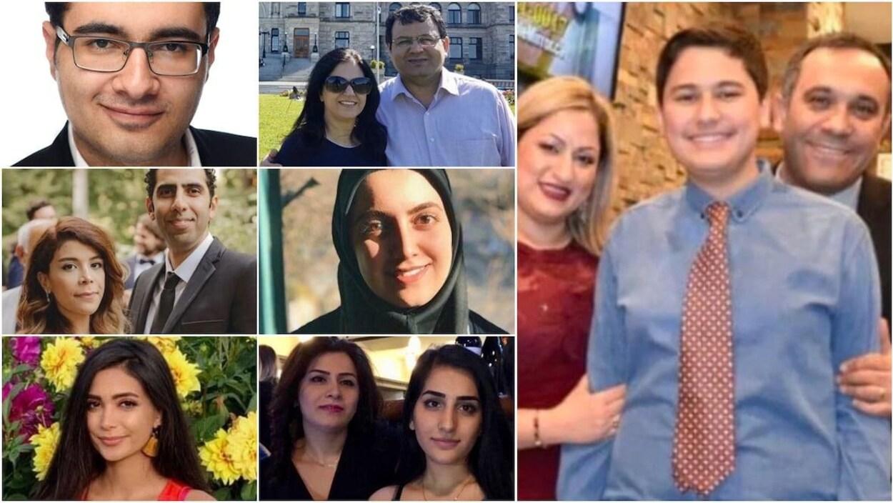 Des photos des victimes d'avion à Téhéran.