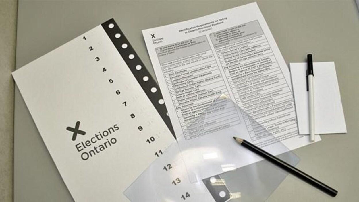 Du matériel d'Élections Ontario.