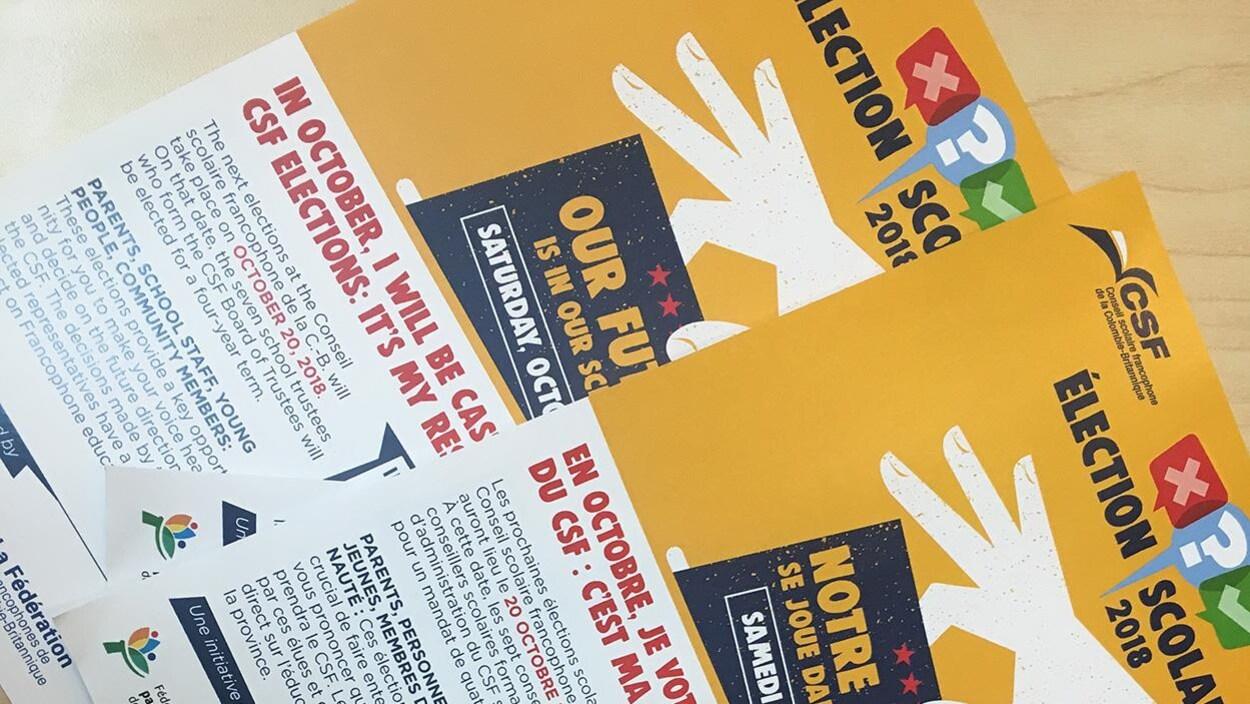 Des pancartes d'une campagne pour les élections scolaires.