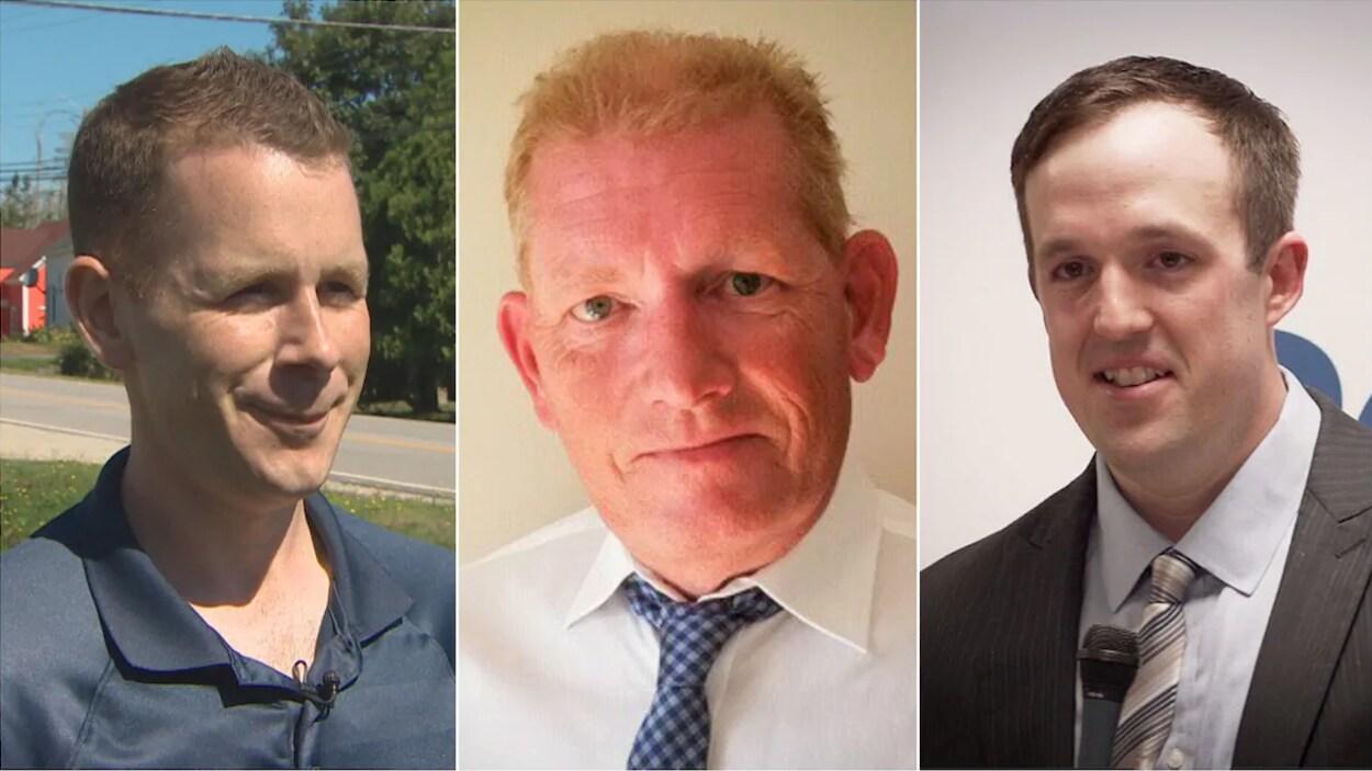 Montage de trois photographies de chacun des candidats.