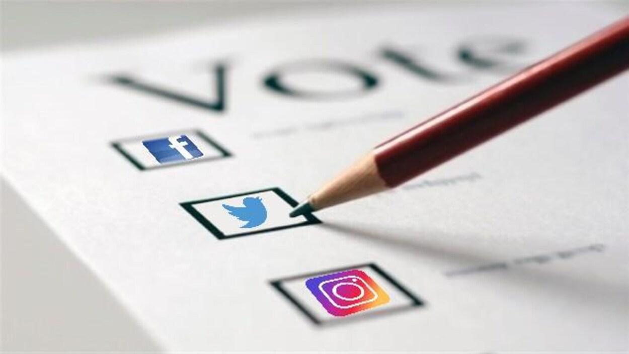 Bulletin de vote où les cases sont des logos de différents réseaux sociaux.