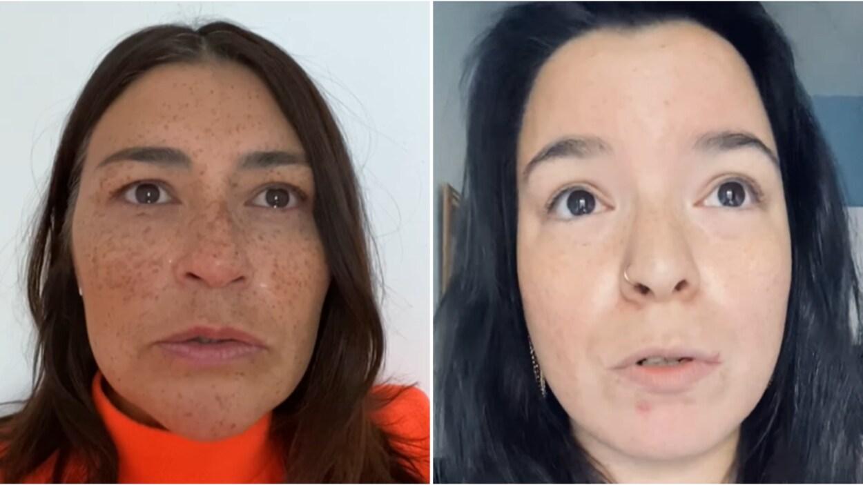 Deux femmes, les yeux pleins d'eau, parlent et se filment.