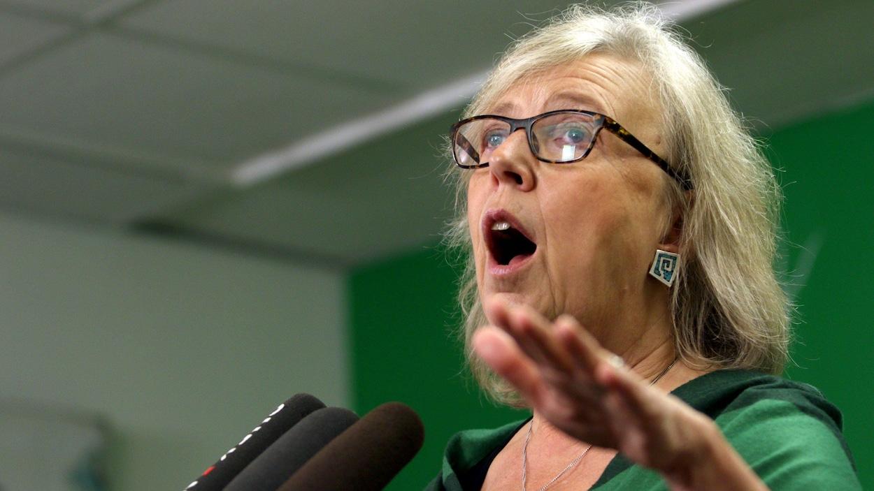 Elizabeth May s'adresse au micro lors d'une conférence de presse.