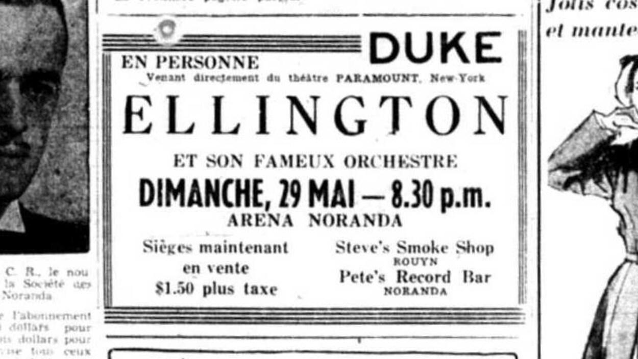 Publicité annonçant la venue de Duke Ellington à Noranda dans le journal « La Frontière » du 19 mai 1949