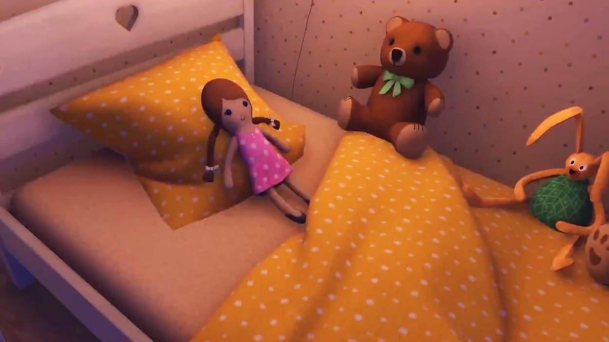 Une capture d'écran de l'application Enter the Room montrant une poupée d'une petite fille portant une robe rose à pois blancs posée sur le lit défait d'un enfant.