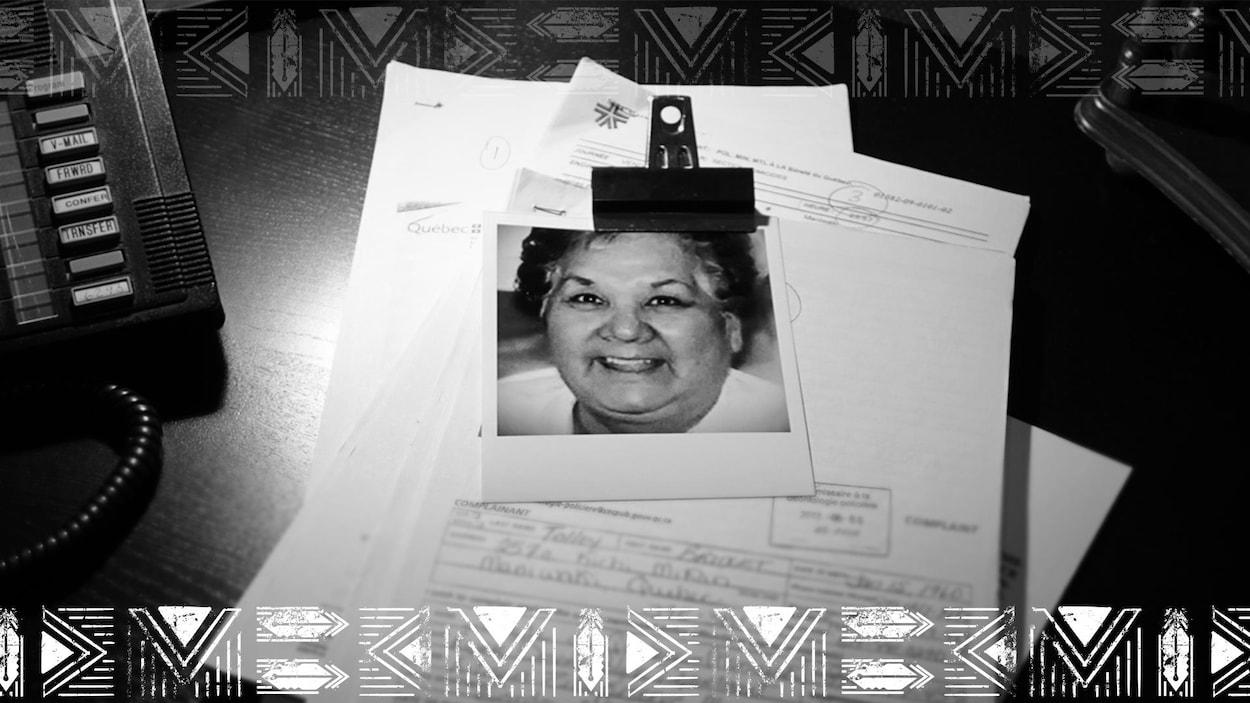 Des rapports de police et la photo de Gladys Tolley.