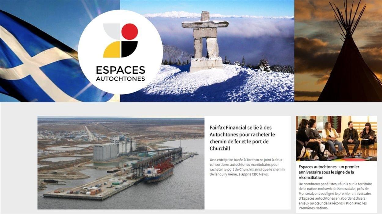 La page d'accueil d'Espaces autochtones